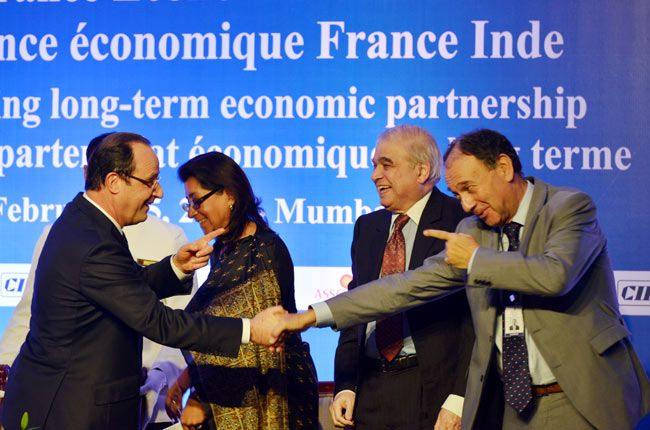 President of France at a summit in Mumbai