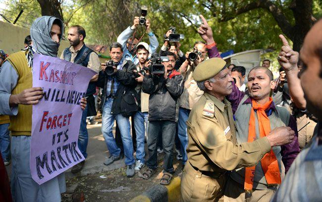 Protest against Afzal Guru hanging, Bajrang Dal, Delhi Police, Jantar Mantar