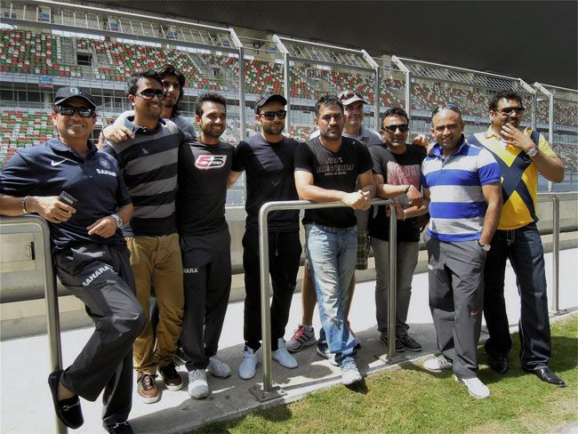Indian cricketers at the Buddh International Circuit in Greater Noida