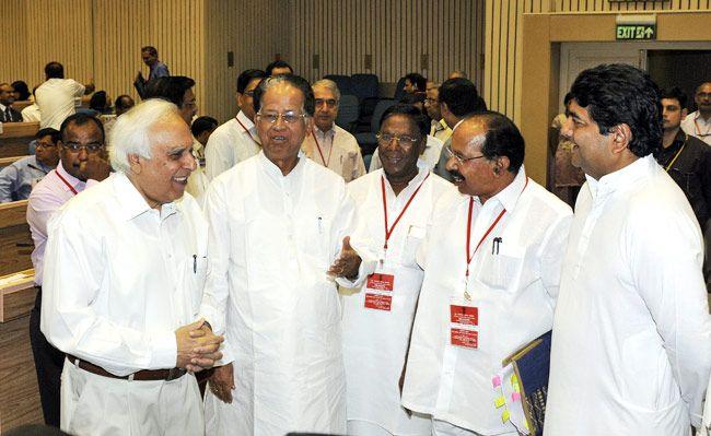 Kapil Sibal, Tarun Gogoi, Veerappa Moily and RPN Singh
