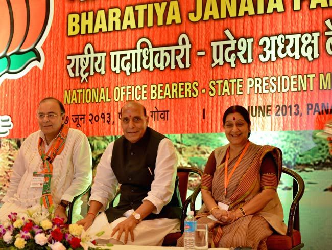 (From left) Arun Jaitley, Rajnath Singh, Sushma Swaraj