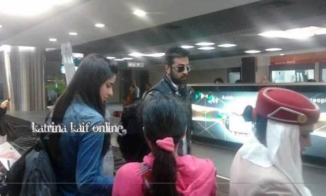 Ranbir Kapoor and Katrina Kaif at Dubai airport