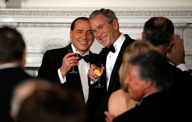 George W. Bush and Silvio Berlusconi
