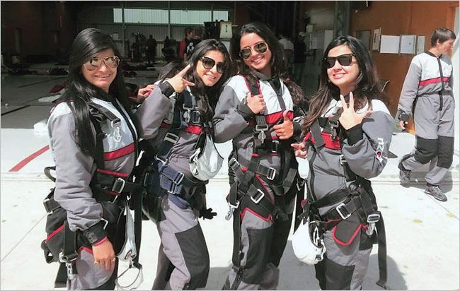 Better halves of Indian cricketers go sky-diving