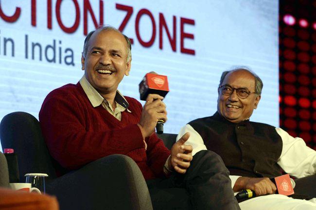 Manish Sisodia (left) and Digvijaya Singh