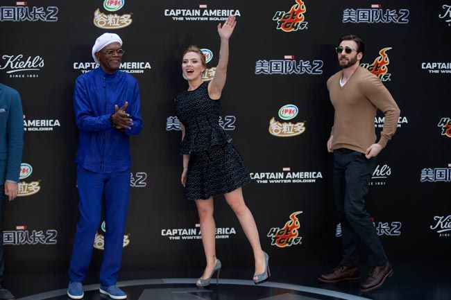 Scarlett Johansson, Samuel L. Jackson and Chris Evans