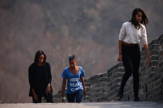 Michelle Obama with daughters Malia and Sasha