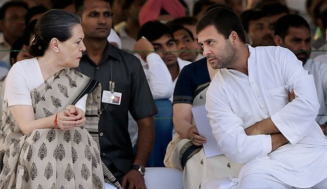 Sonia and Rahul Gandhi with others