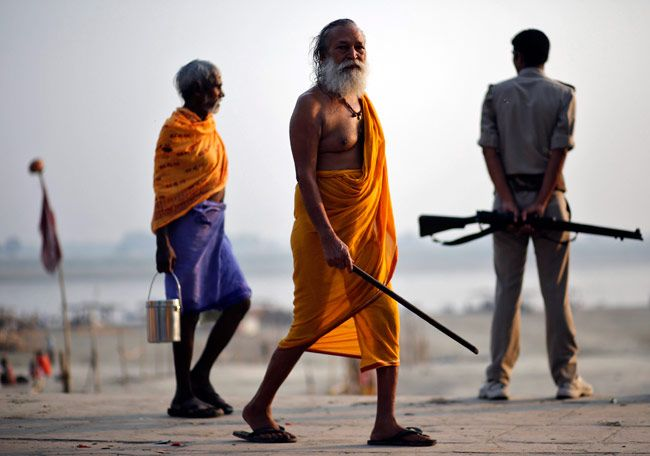 A sadhu casts his vote at Ayodhya