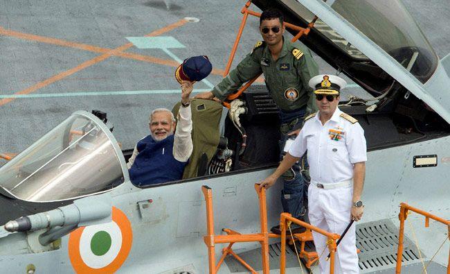 Modi on board INS Vikramaditya