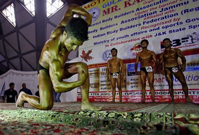 Body building competition in Kashmir