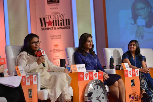 (From right) Sushmita Dev, Upasana Kamineni, Ashni Biyani, India Today Woman Summit 2014