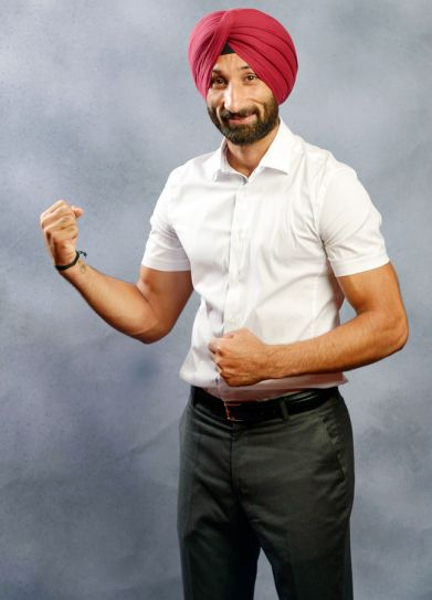 Sardara Singh poses for a shoot at the India Today Mind Rocks Youth Summit 2014 in Chandigarh.
