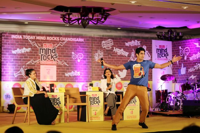 Boxer Vijender Singh shakes a leg at the India Today Mind Rocks 2014 in Chandigarh.