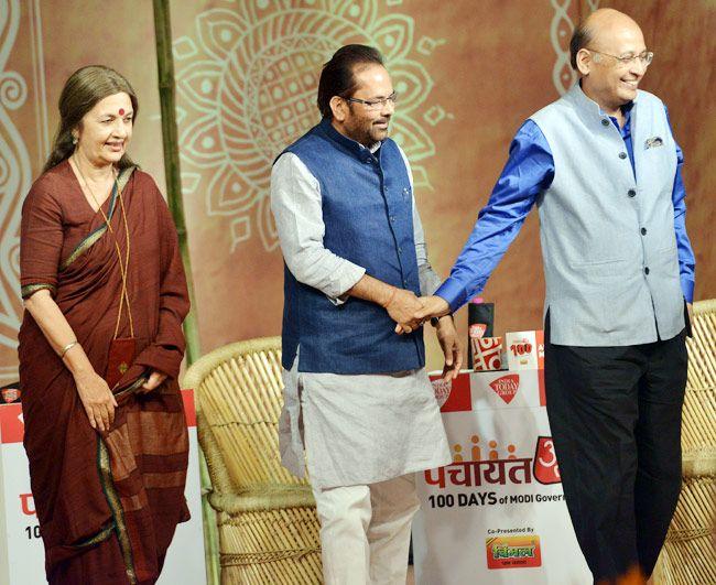 Brinda Karat (left), Mukhtar Abbas Naqvi and Abhishek Manu Singhvi (right)