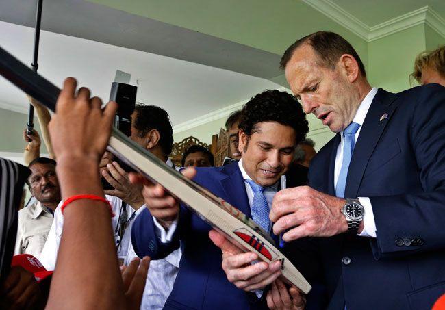 Tony Abbott with Sachin Tendulkar