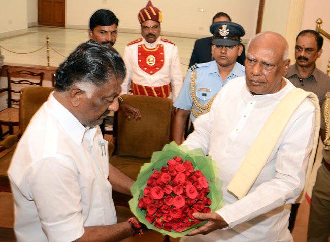 Tamil Nadu CM O Panneerselvam and governor K Rosaiah.
