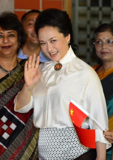 Chinese First Lady Peng Liyuan at a Delhi school.