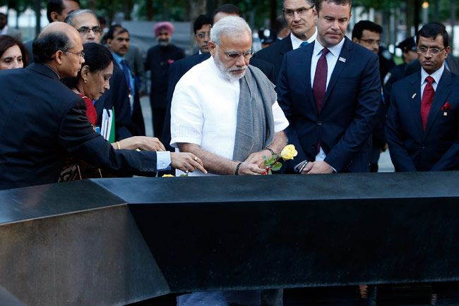 Modi pays homage to 9/11 victims