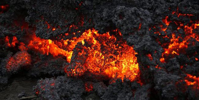 Lava eruption in Iceland