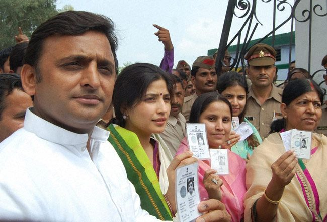 Akhilesh Yadav with wife and MP Dimple Yadav