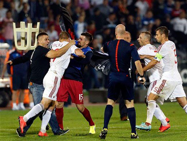 Soccer violence: Albania Serbia