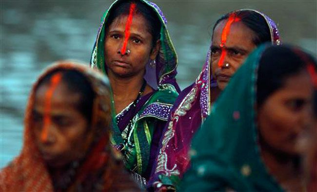 Prayers being offered during Chhath Puja festival