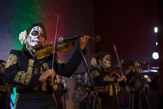 The band Mariachi Divas de Cindy Shea perform at a press reception ahead of the 15th annual Dia de los Muertos.