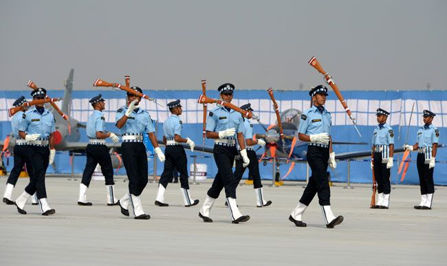 Air Force personnel perform a drill