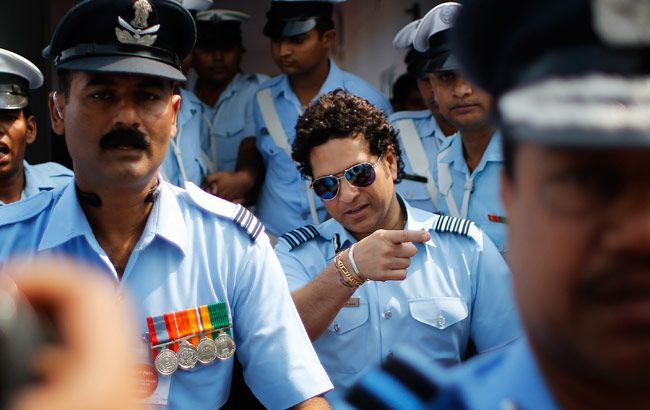 Air Force Group Captain Sachin Tendulkar leaves air force station.