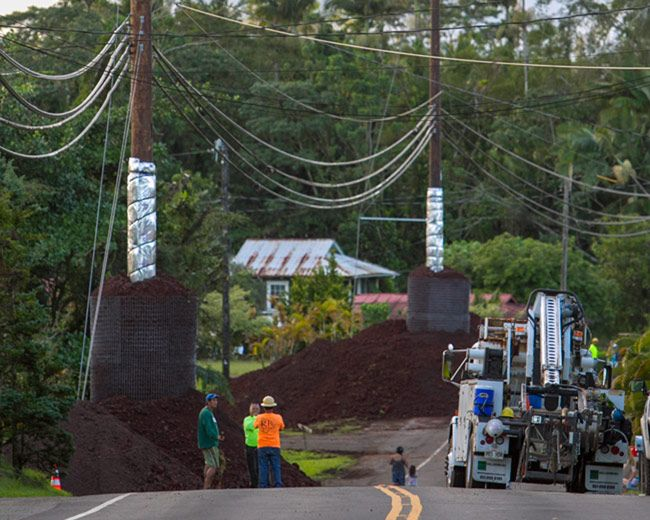 Construction crew in Pahoa Village