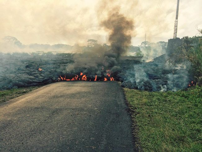 Lava crossing Apa'a Street Cemetery Road