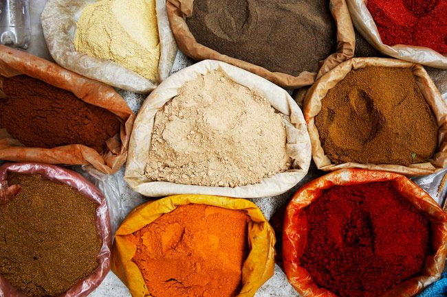 Colour pigments are offered for sale in Medina