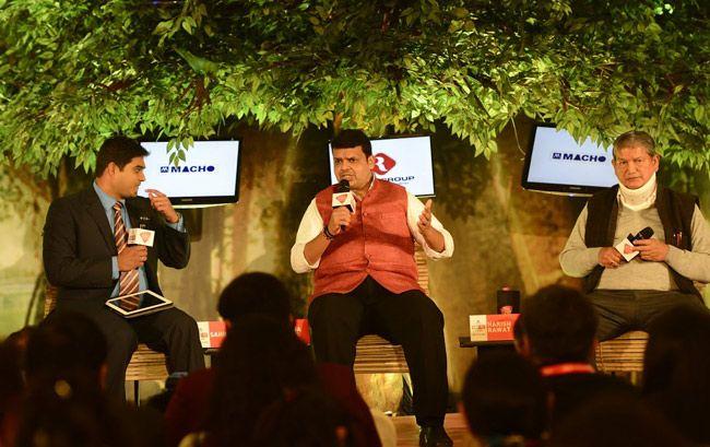 Devendra Fadnavis and Harish Rawat at Agenda Aaj Tak