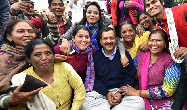 Arvind Kejriwal with party workers
