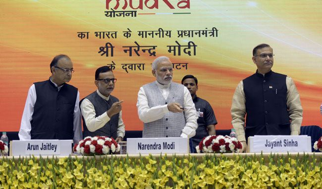 (From left) Finance Minister Arun Jaitley, Prime Minister Narendra Modi and Minister of state for finance Jayant Sinha