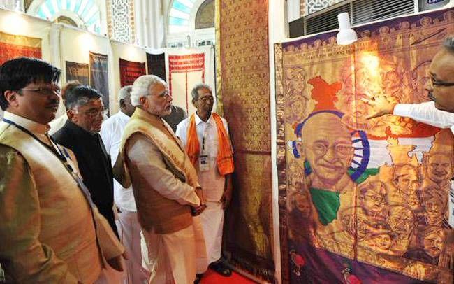 Modi at Handloom Exhibition