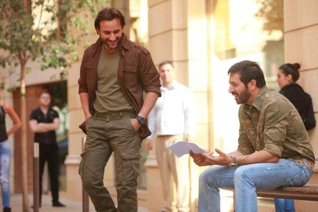 Saif Ali Khan and Kabir Khan on the sets of Phantom