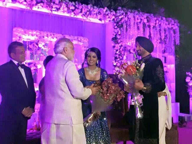 Narendra Modi at Harbhajan Singh and Geeta Basra's wedding reception