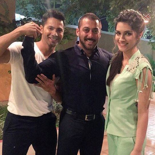Varun Dhawan and Kriti Sanon meet Salman Khan on the sets of Bigg Boss 9