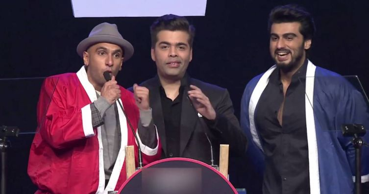 Ranveer Singh, Karan Johar and Arjun Kapoor at AIB roast