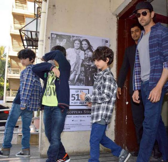 Hrithik Roshan with sons Hredhaan and Hrehaan