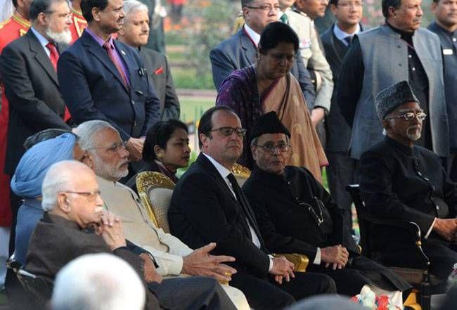 Narendra Modi, Francois Hollande, Pranab Mukherjee