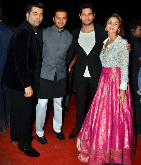 (L-R) Karan Johar, Riteish Deshmukh, Sidharth Malhotra and Alia Bhatt