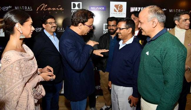 Aditi Rao Hydari, Vidhu Vinod Chopra, Arvind Kejriwal and Manish Sisodia at Wazir screening