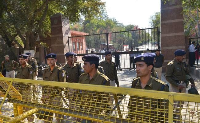 Police outside JNU