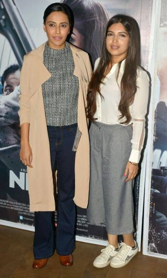 Swara Bhaskar (L) and Bhumi Pednekar at Neerja's screening