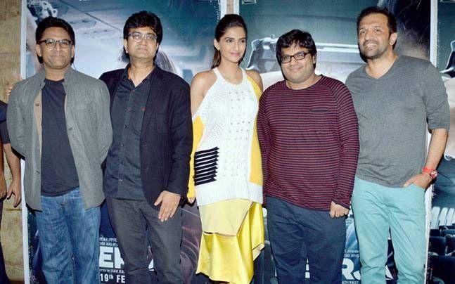 Ram Madhvani, Prasoon Joshi, Sonam Kapoor and Atul Kasbekar at Neerja song launch