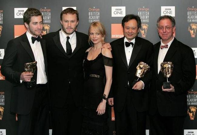 (L-R) Jake Gyllenhaal, Heath Ledger, Michelle Williams, Ang Lee and James Schamus