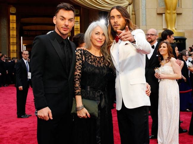 Jared Leto (R) with his mother Constance Leto and brother Shannon Leto